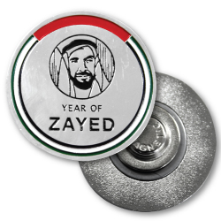 YEAR OF ZAYED'S button badge and epoxy label badge