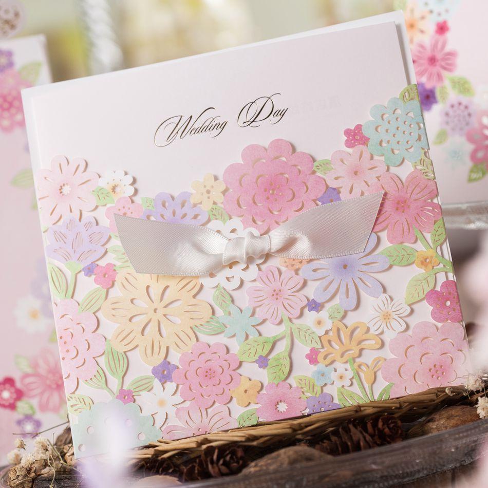 Wedding Card Luxury Laser Cut Colorful Flower Lace